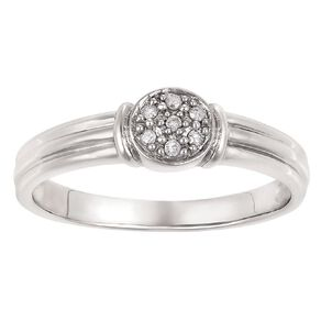 Sterling Silver Diamond Round Ring