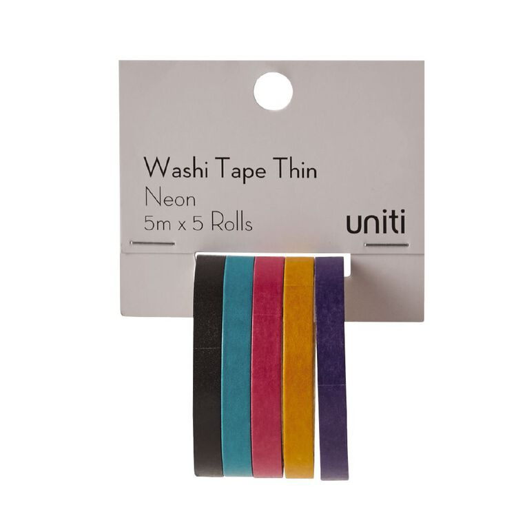 Uniti Washi Tape Thin 5 Pack Neon, , hi-res