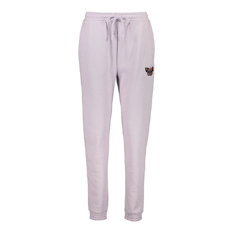 H&H Women's Elastic Fleece Trackpants, Lilac, hi-res