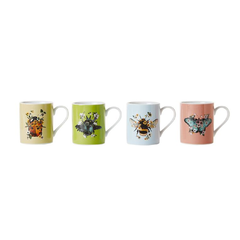 Living & Co Insects Printed Mugs 4 Pack, , hi-res