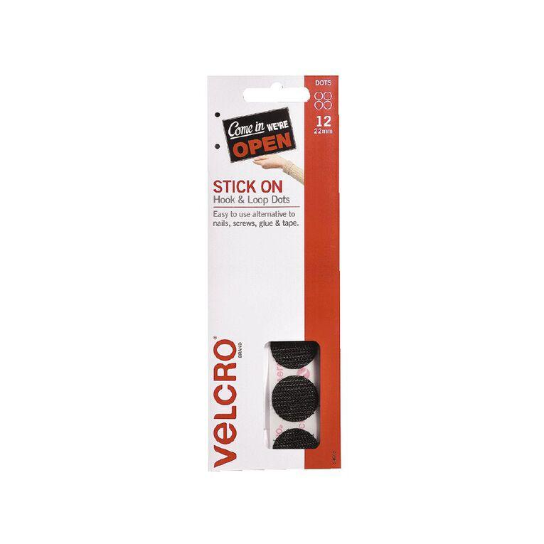 VELCRO Brand Hook & Loop Handy Dots 22mm 12 Set Black, , hi-res