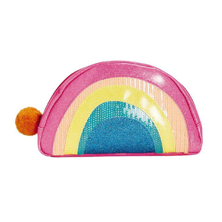 Kookie Novelty Pencil Case Sequin Rainbow Pink, , hi-res