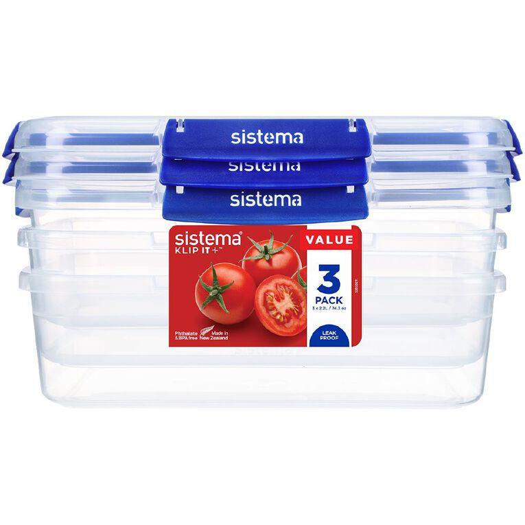 Sistema Klip It Plus Rectangular Container 3 Pack Assorted 2.2L, , hi-res