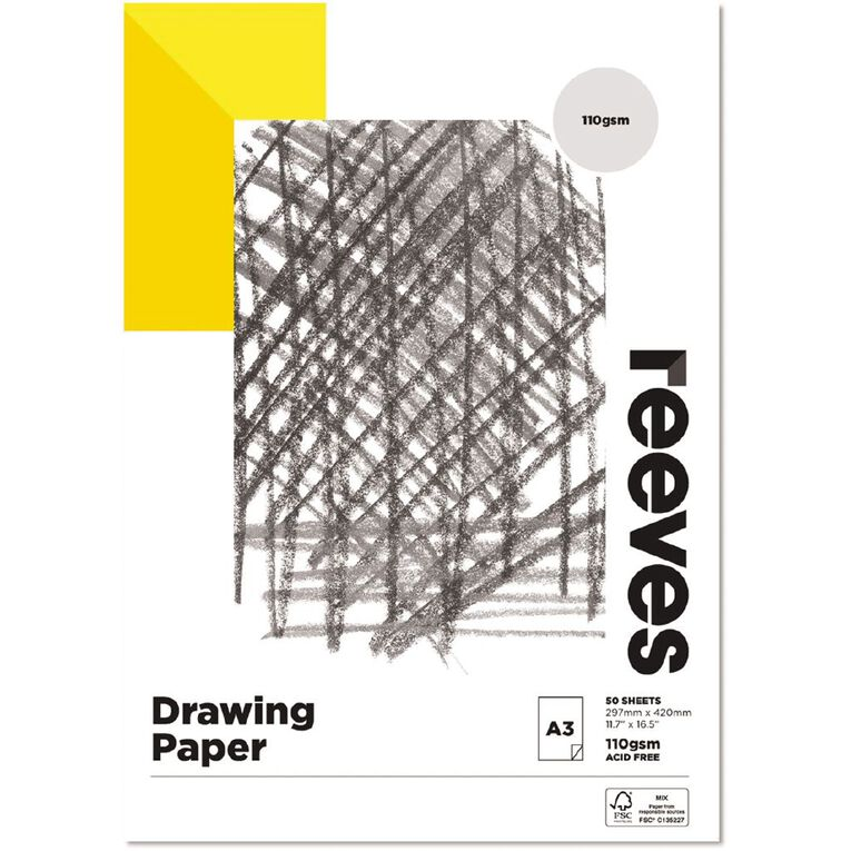 Reeves Drawing Pad 110gsm A3, , hi-res