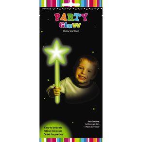Artwrap Glow Star Wand Green 20cm