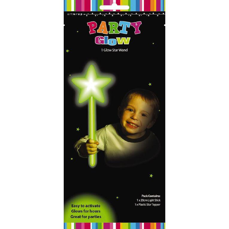 Artwrap Glow Star Wand Green 20cm, , hi-res