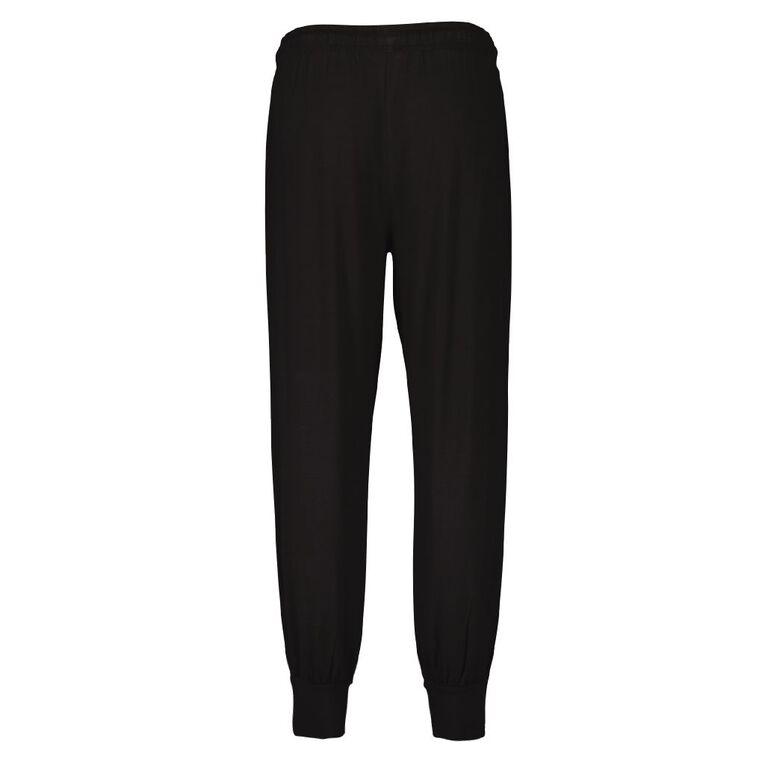 H&H Women's Slouch Plain Pyjama Pants, Black, hi-res