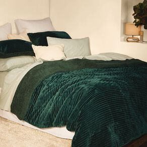 Living & Co Comforter Set Jacquard Plush Sherpa Botanical Green Queen