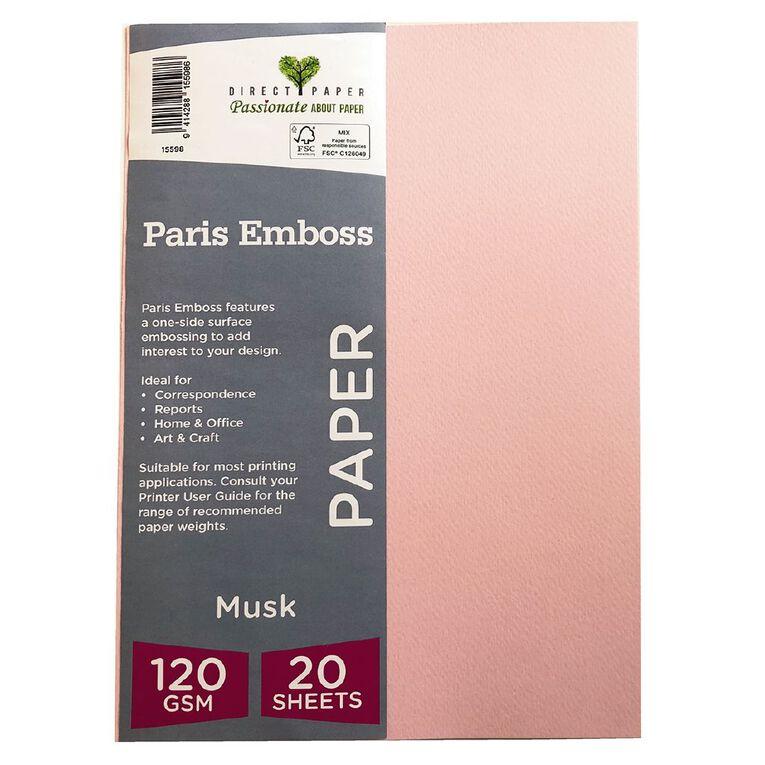 Direct Paper Paris Emboss 120gsm A4 20 Pack Musk, , hi-res