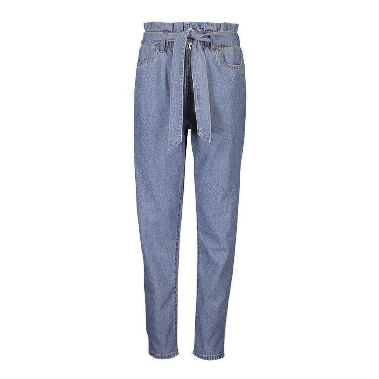 Young Original Tie Waist Jeans, Blue Mid, hi-res