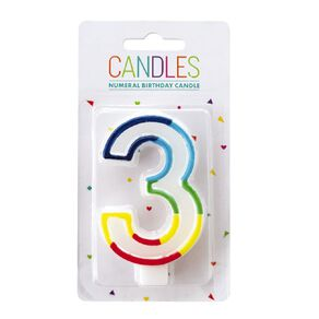 Numeral Candle 3 Rainbow Border 80mm x 10mm White