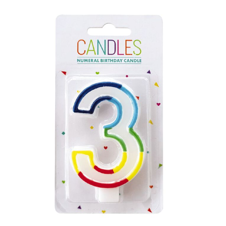 Numeral Candle 3 Rainbow Border 80mm x 10mm White, , hi-res