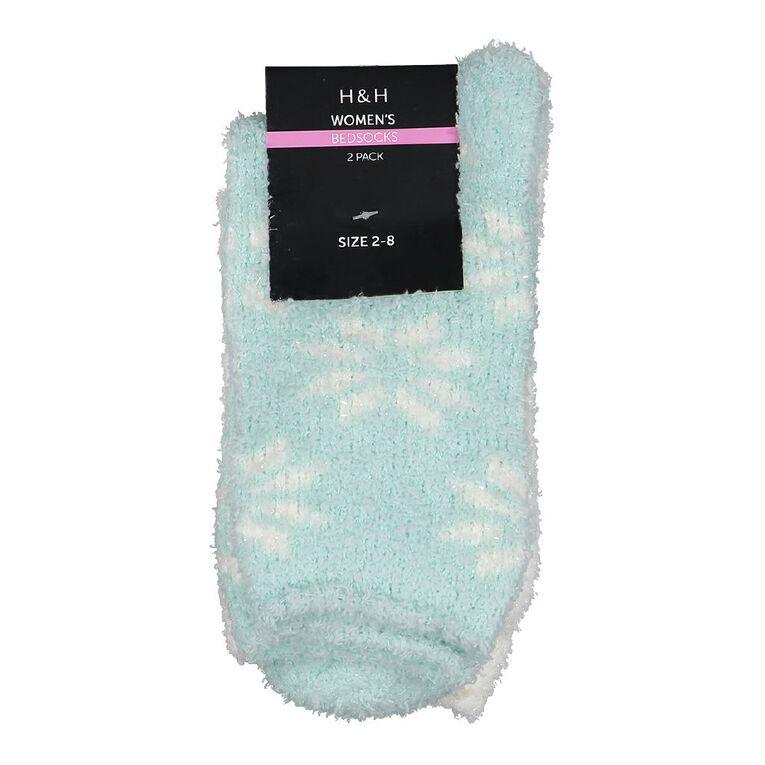 H&H Women's Bed Socks 2 Pack, Green Light, hi-res