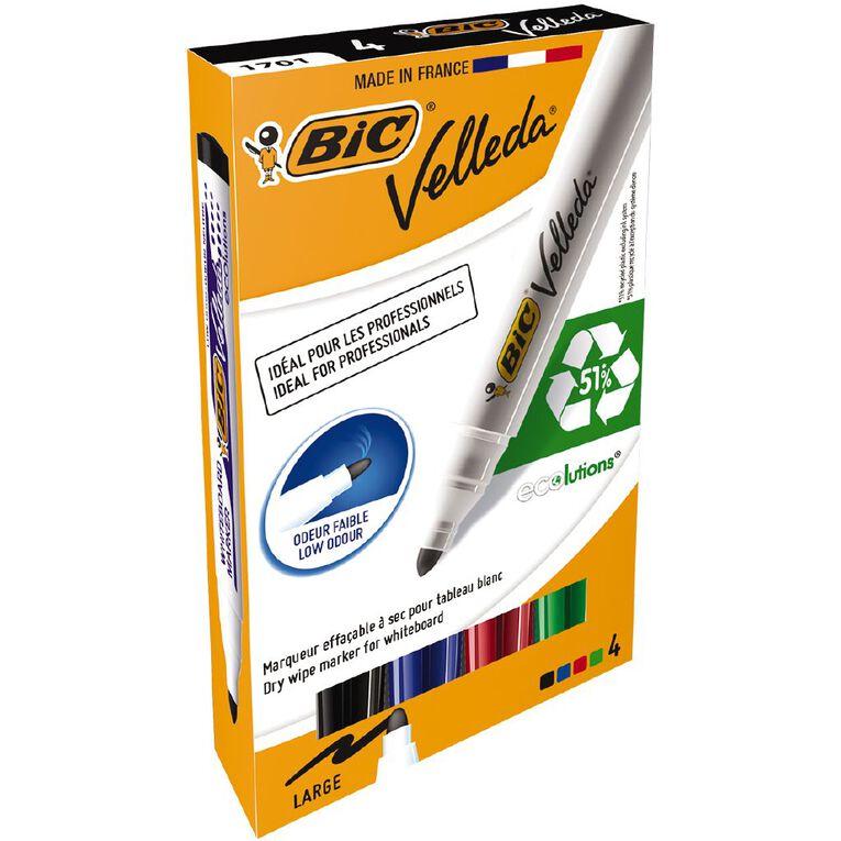 Bic Bic Velleda Whiteboard Marker Bullet Tip Assorted 4 Pack, , hi-res