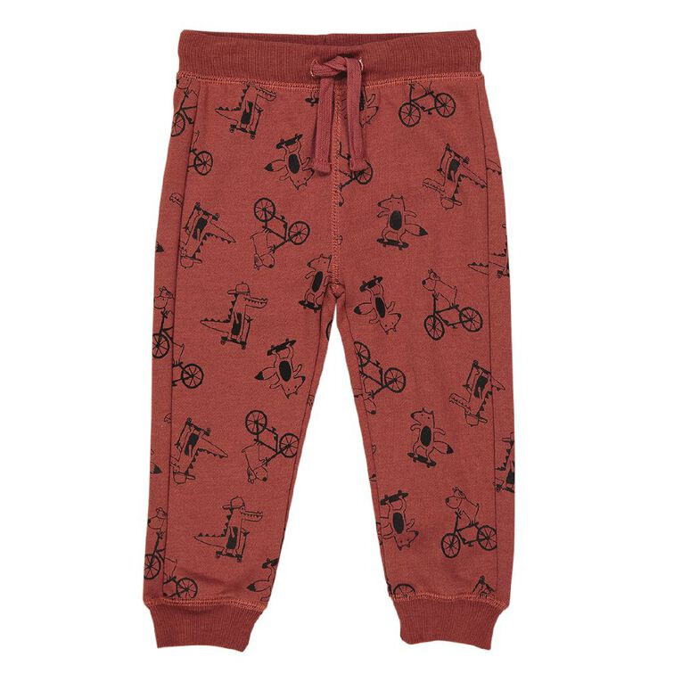 Young Original Toddler Printed Trackpants, Brown Mid, hi-res