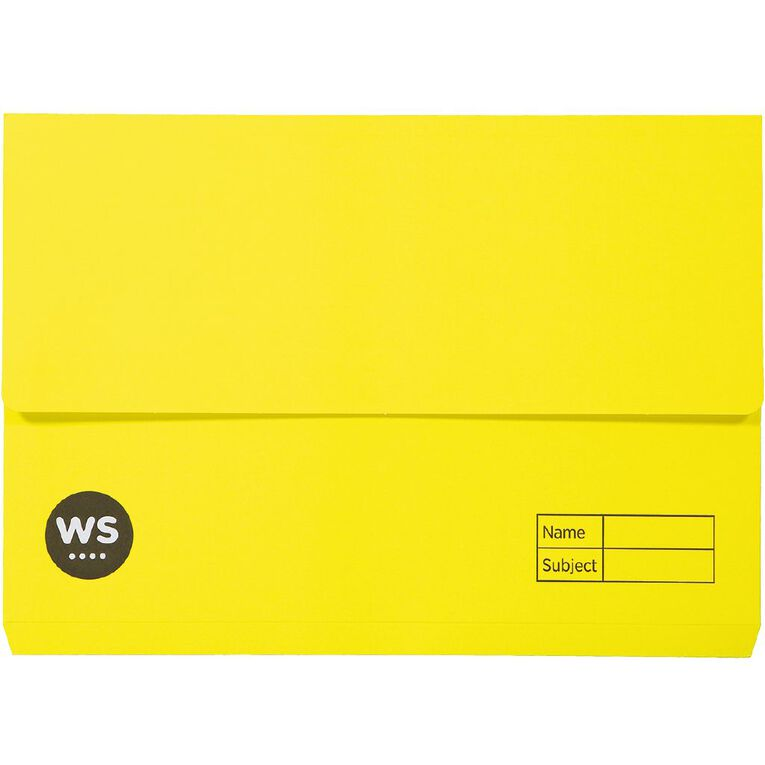 WS Manilla Document Wallet Foolscap Yellow, , hi-res image number null