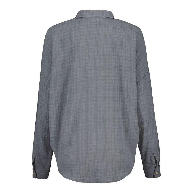 H&H Women's Textured Cotton Boyfriend Shirt, Grey Dark, hi-res