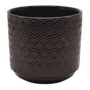 Kiwi Garden Hex Texture Pot Black 21cm