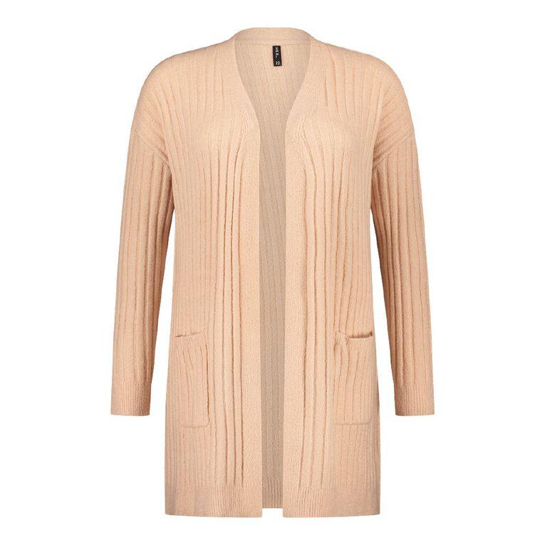 H&H Plus Women's Longline Spongy Knit Rib Cardigan, Pink Light, hi-res