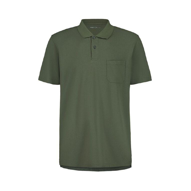 H&H Men's Short Sleeve Pique Pocket Polo, Khaki, hi-res