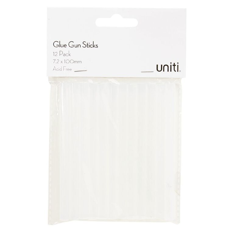 Uniti Glue Gun Sticks 72 x 100mm Clear 12 Pack, , hi-res