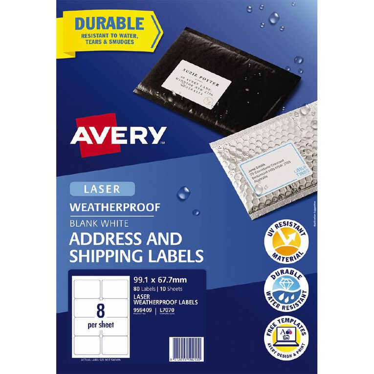 Avery WeatherProof Shipping Labels Laser Printers 99.1x67.7mm 80 Labels, , hi-res