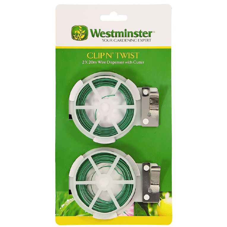 Westminster Clip 'n Twist Wire With Dispenser 20m 2 Pack, , hi-res