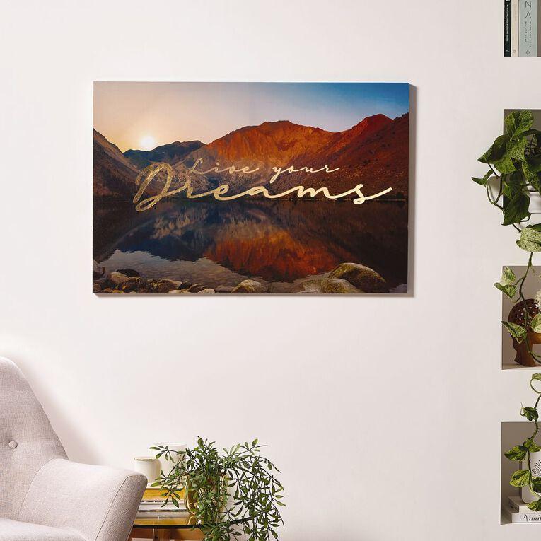 Living & Co Live Your Dreams Canvas 60 x 90 x 1.8cm, , hi-res