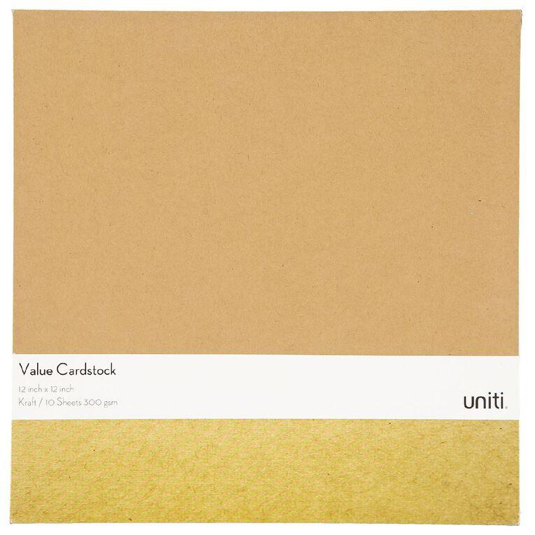 Uniti Value Cardstock 300gsm 10 Pack Kraft Brown 12in x 12in, , hi-res