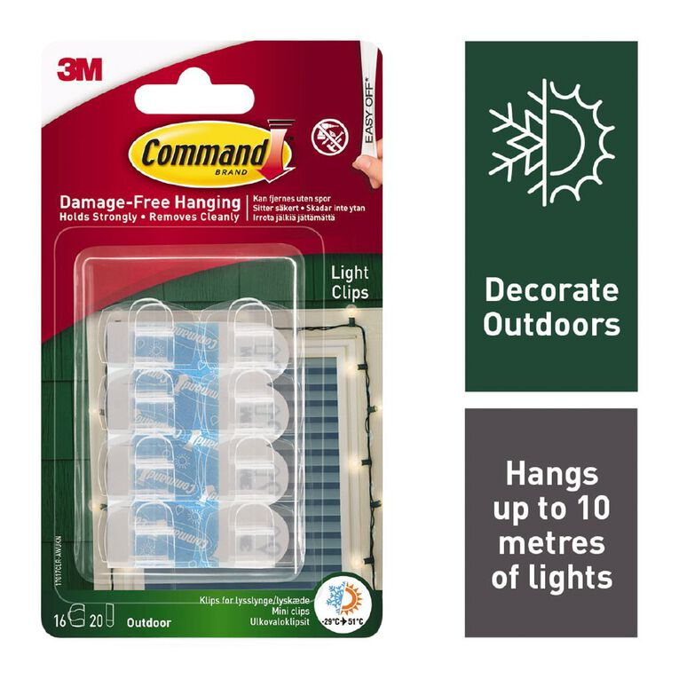 Command Outdoor Light Clips with Foam Strips 16 Clips 20 Strips, , hi-res