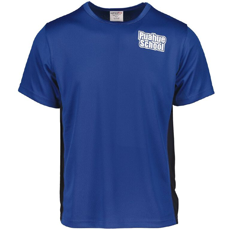 Schooltex Puahue Sports Top with Transfer, Royal/Black, hi-res