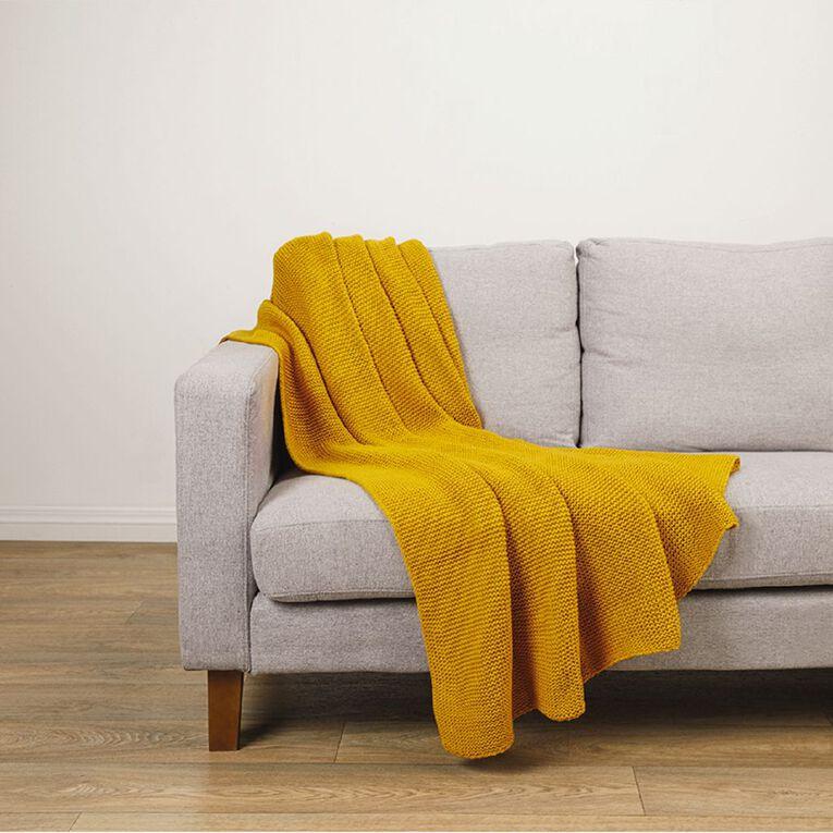Living & Co Chunky Knit Throw Yellow Dark 127cm x 152cm, Yellow Dark, hi-res