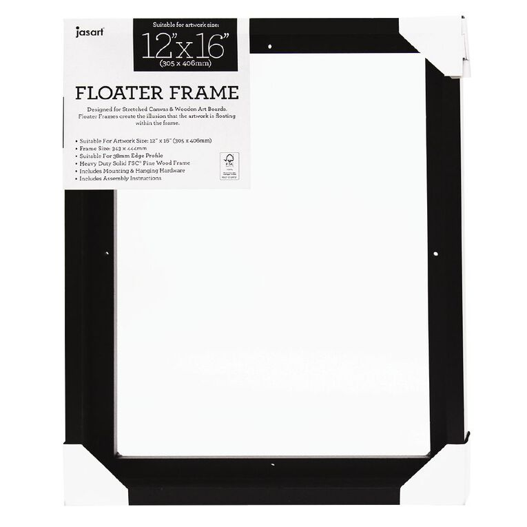 Jasart Floater Frame Thick Edge 12x16 Inches Black, , hi-res