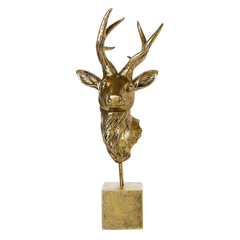 Living & Co Stag Head Ornament 18cm x 16.5cm x 45cm Gold, , hi-res