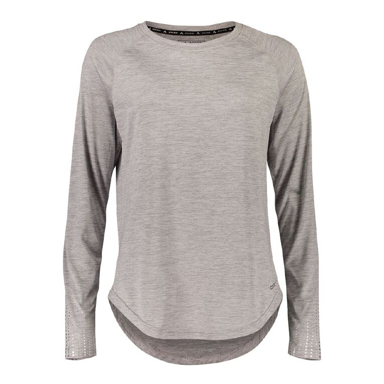 Active Intent Women's Long Sleeve Drop Hem Tee, Grey Light, hi-res