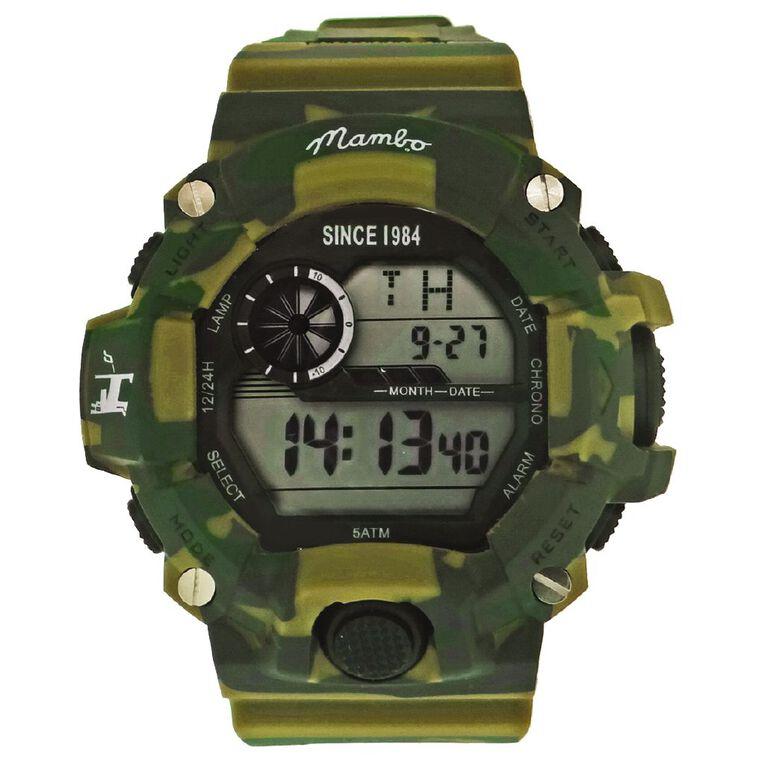 Mambo Men's Digital Sport Watch Camo Green, , hi-res