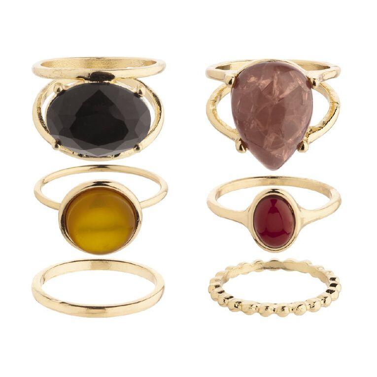 Basics Antique Black Red Blush Yellow Gold Ring Set, Gold, hi-res