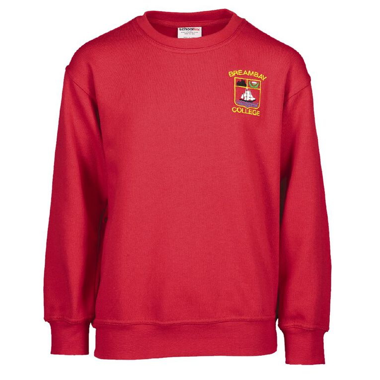 Schooltex Bream Bay College Sweatshirt with Embroidery, Red, hi-res