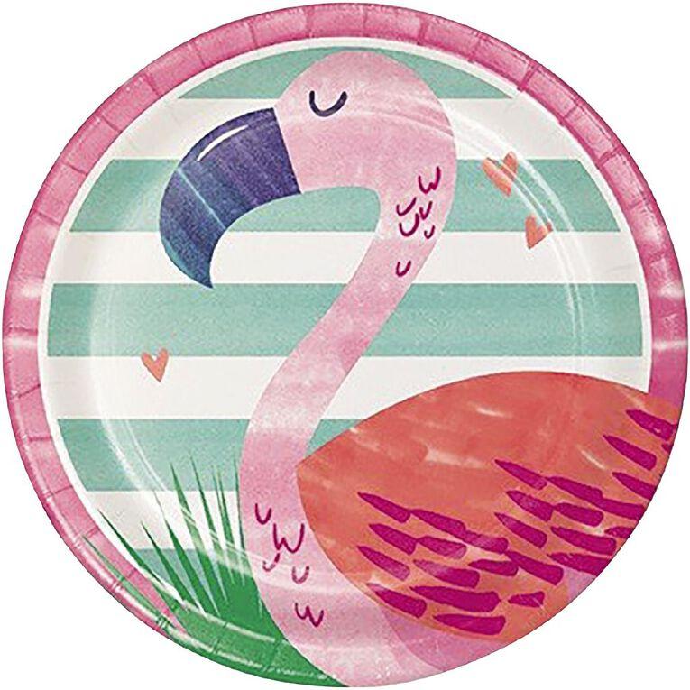 Amscan Flamingo Paper Plates Paper 18cm 8 Pack, , hi-res