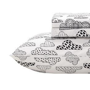 Living & Co Kids Sheet Set Cotton Rich Cloud White Single