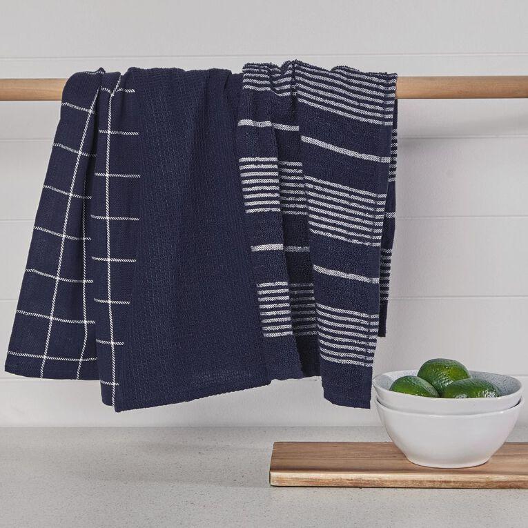 Living & Co Aria Tea Towel Set 3 Pack Navy 40cm x 65cm, , hi-res