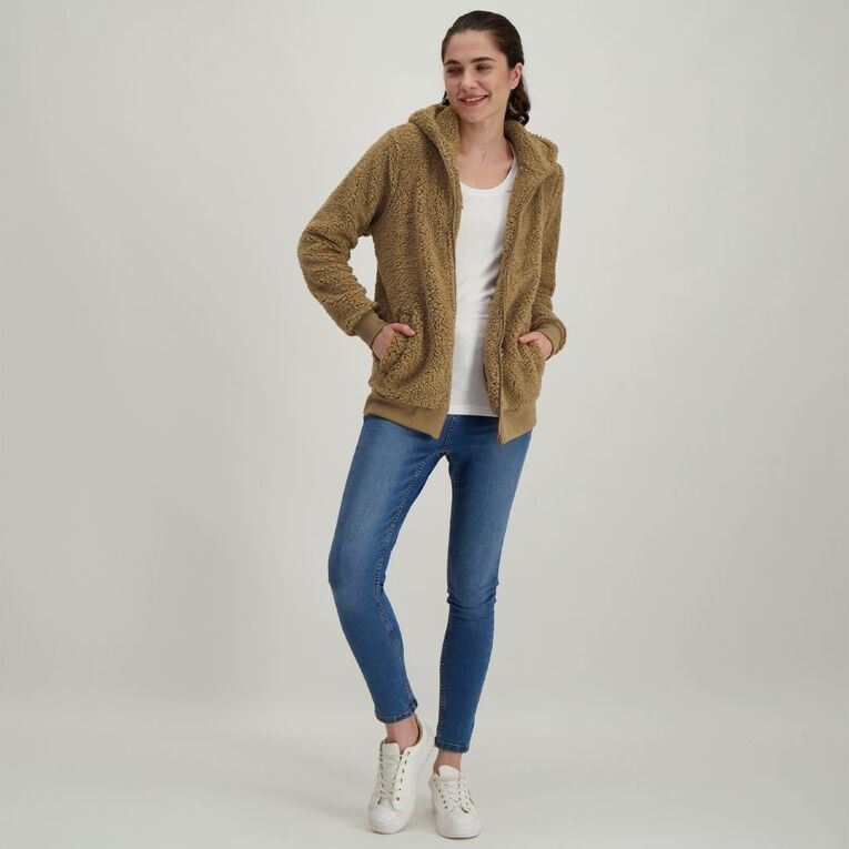 H&H Women's Sherpa Teddy Zip Thru Sweatshirt, Brown Light, hi-res