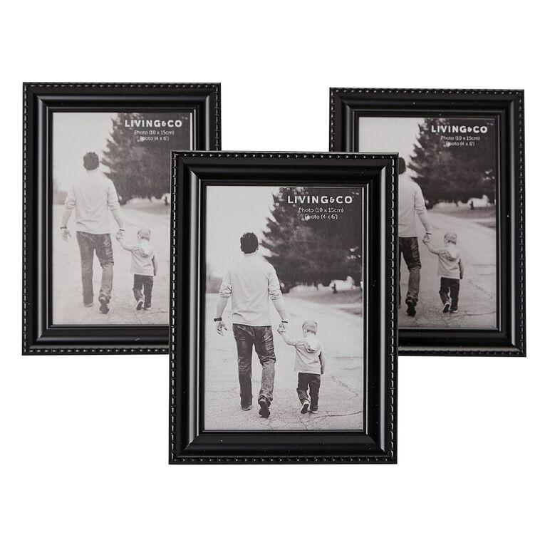 Living & Co Picture Frame With Easl & S Hanger 3pk Black 4in x 6in, Black, hi-res image number null