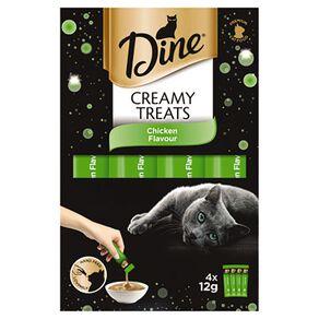 Dine Creamy Treats Cat Treats Chicken Flavour 4 X 12g Sachets
