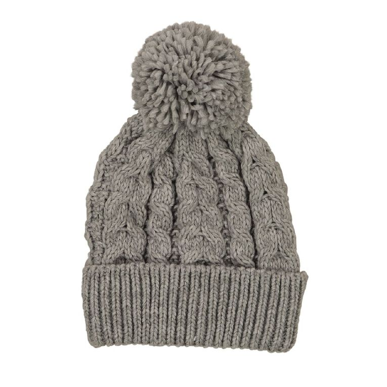 Young Original Girls' Cable Knit Beanie, Grey Light, hi-res