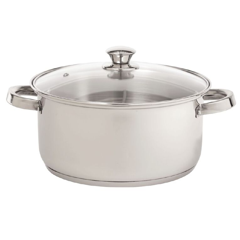 Living & Co Gourmet Casserole Pot Stainless Steel 24cm, , hi-res