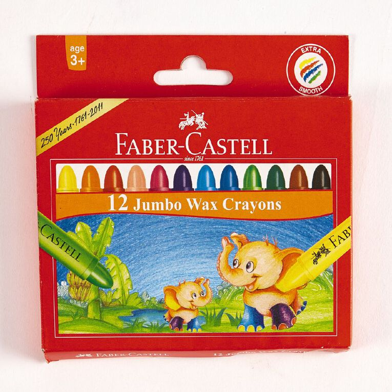 Faber-Castell Crayons Jumbo Wax 12 Pack Multi-Coloured 12 Pack, , hi-res