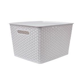Living & Co Rattan Storage Tub White 18L