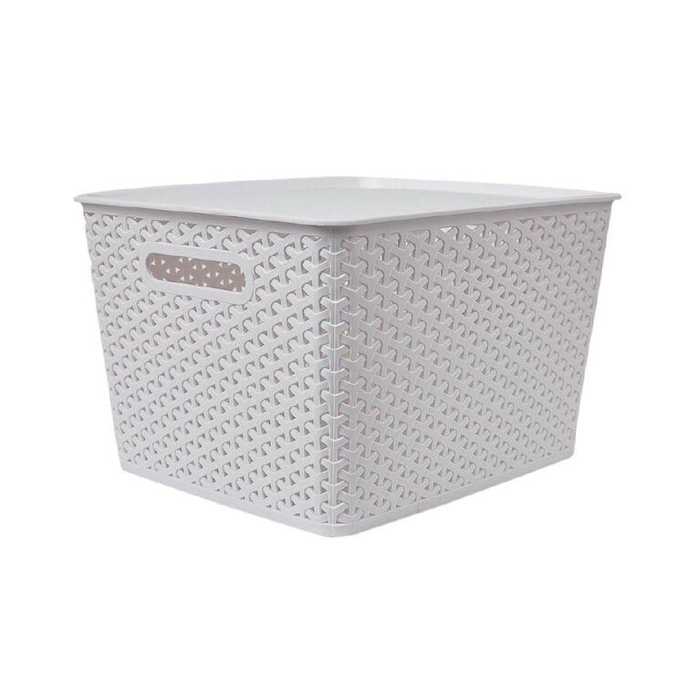 Living & Co Rattan Storage Tub White 18L, , hi-res