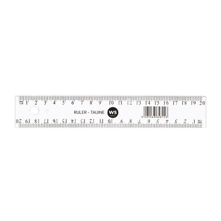 WS Ruler 20cm Clear, , hi-res
